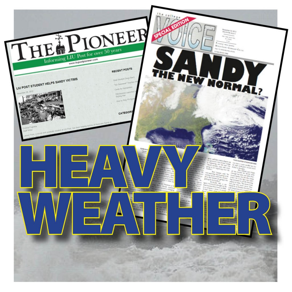 Coping with disaster... Long Island University and Mercer County Community College. Background photo Brian Birke, Creative Commons.