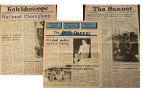 Figure 1: The Blue Banner's early roots began as a tabloid, and converted to a broadsheet in the mid-1980s.