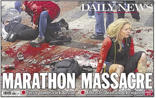 Cover of the Daily News, Tuesday, April 16, 2013.