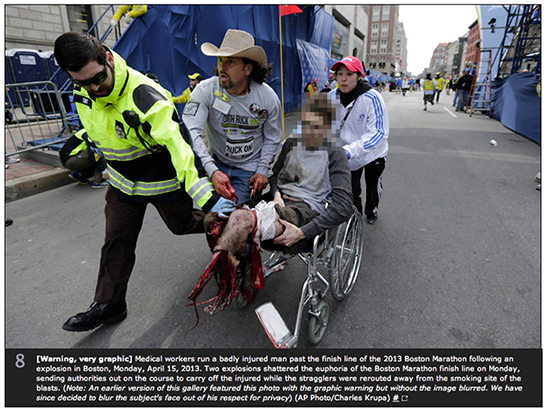 FROM THE ATLANTIC — [Warning, very graphic] Medical workers run a badly injured man past the finish line of the 2013 Boston Marathon following an explosion in Boston, Monday, April 15, 2013. Two explosions shattered the euphoria of the Boston Marathon finish line on Monday, sending authorities out on the course to carry off the injured while the stragglers were rerouted away from the smoking site of the blasts. http://www.theatlantic.com/photo/2013/04/photos-of-the-boston-marathon-bombing/100495/