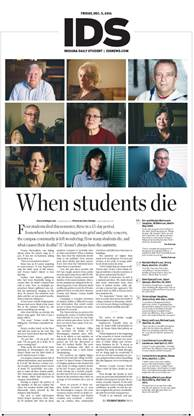 """When students die,"" Indiana Daily Student, Dec. 5, 2014."