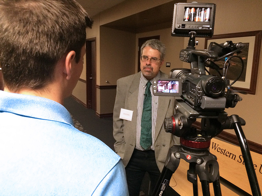 Robert Bergland at the Walter Cronkite Conference on Media Ethics at Missouri Western State University, Nov. 9, 2015. Photo by Bradley Wilson