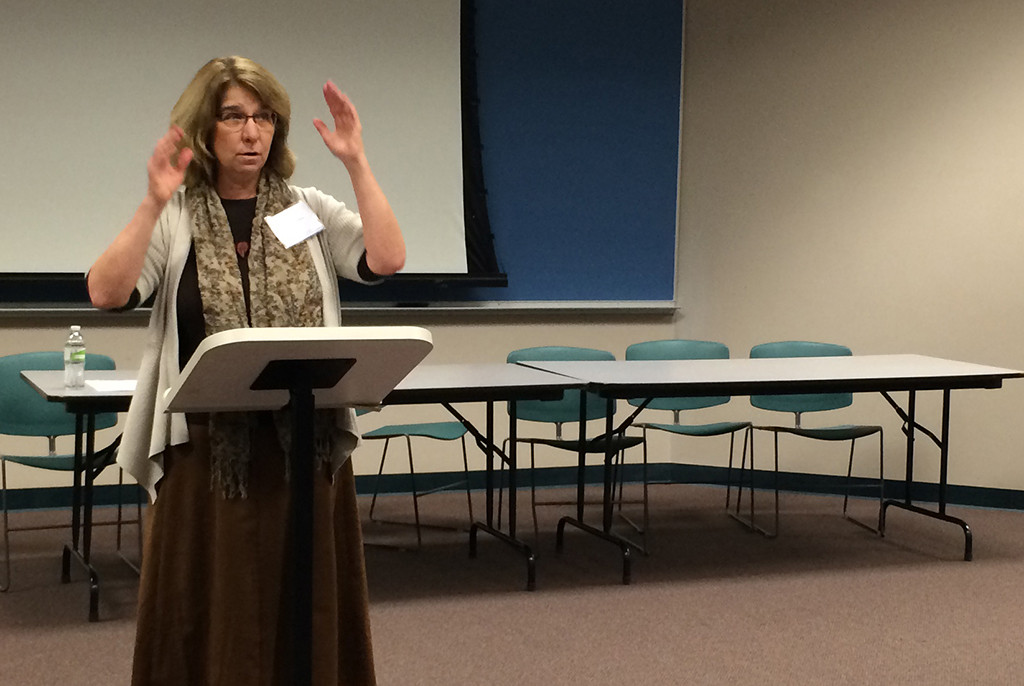 Janet Blank-Libra, professor and director of journalism at Augustana University, presents a paper at the Walter Cronkite Conference on Media Ethics at Missouri Western State University, Nov. 9, 2015. Photo by Bradley Wilson